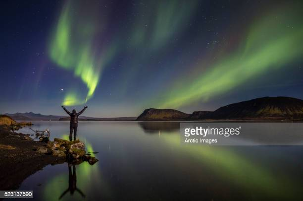 Aurora Borealis or Northern Lights, Lake Thingvellir, Iceland