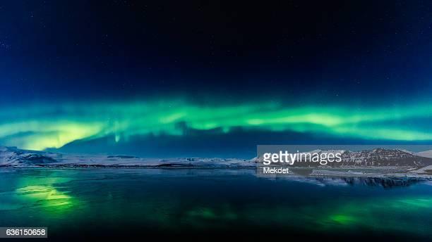 Aurora Borealis or Northern lights over Jokulsarlon, Iceland
