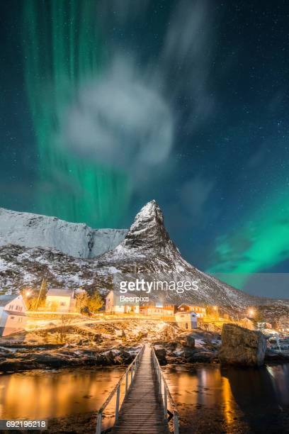 Aurora Borealis or Northern Lights over Lofoten, Norway beautiful landscape.