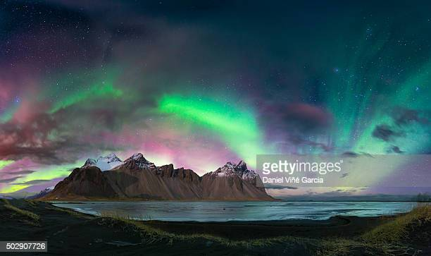 Aurora Borealis or Northern Lights, stokksnes, Iceland.
