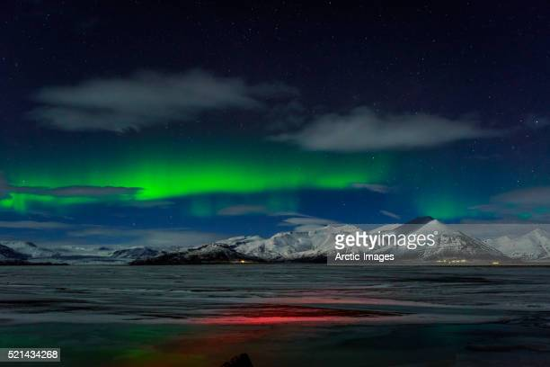 aurora borealis over mt hoffell, hoffellsjokul glacier, iceland - extreme terrain stock pictures, royalty-free photos & images