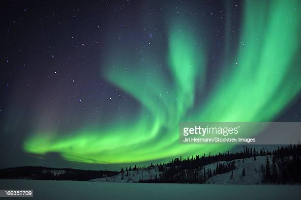 Aurora borealis over Prosperous Lake, Yellowknife, Northwest Territories, Canada.