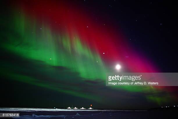 Aurora borealis over the Bering Sea