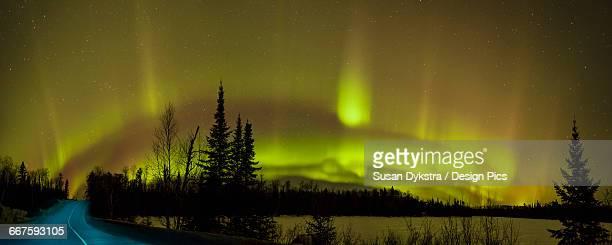 Aurora borealis over the road
