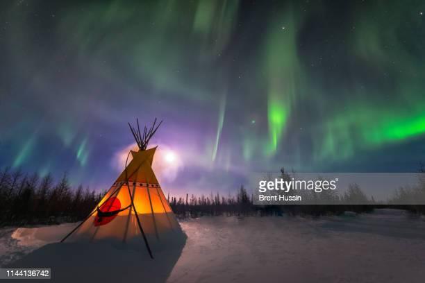 aurora borealis - kampeertent stockfoto's en -beelden