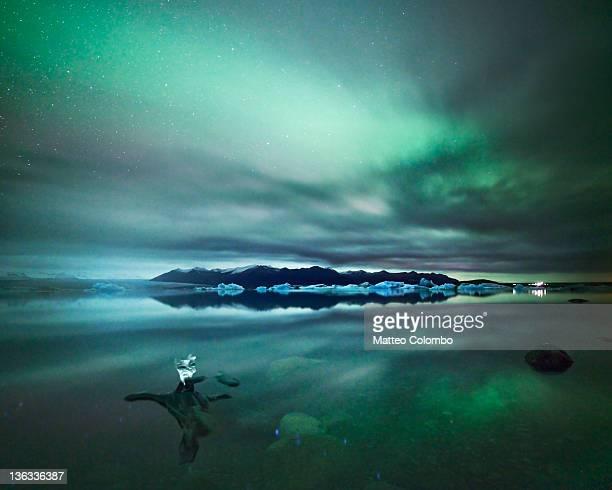 Aurora borealis reflected in glacial lake