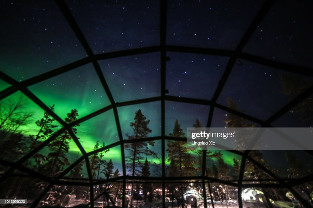 Aurora borealis (Northern lights) seen from Glass Igloos, Saariselka, Finland : Stock Photo