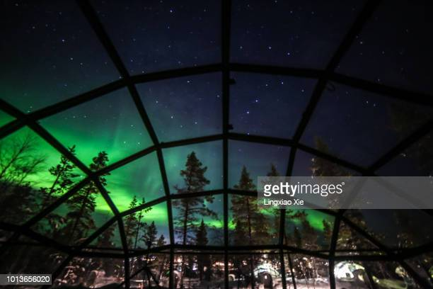 Aurora borealis (Northern lights) seen from Glass Igloos, Saariselka, Finland