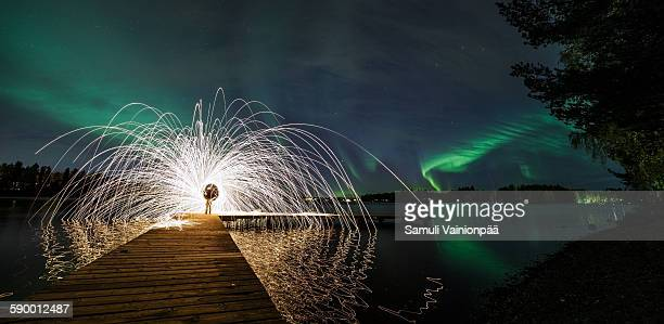 aurora borealis & steel wool - atmospheric mood stock pictures, royalty-free photos & images