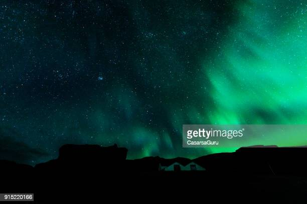 Aurora Borealis Visible from a Village in Iceland