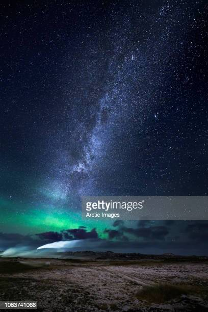 Aurora Borealis with the Milky Way Galaxy, Reykjanes Peninsula, Iceland