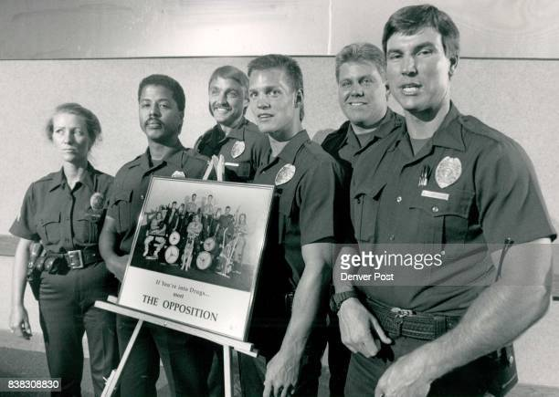 Aurora Cops Display AntiDrug Poster Officers Mary Schumacher Rudy Herrera Ken Storch David Spiker Mike Simmons and Alan Hartsough Poster reads 'If...