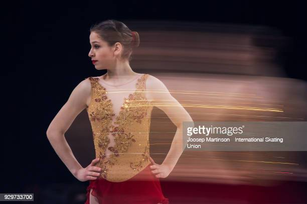 Aurora Cotop of Canada competes in the Junior Ladies Short Program during the World Junior Figure Skating Championships at Arena Armeec on March 9,...