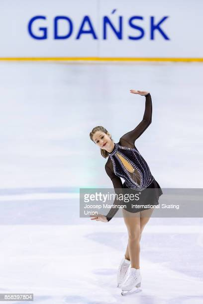 Aurora Cotop of Canada competes in the Ladies Free Skating during day two of the ISU Junior Grand Prix of Figure Skating at Olivia Ice Rink on...