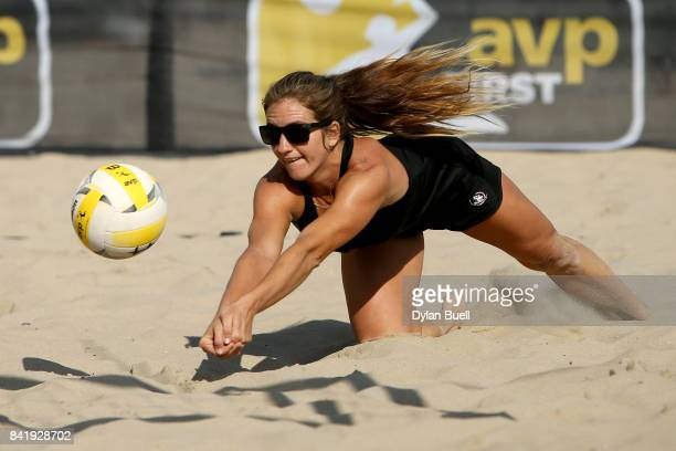 Aurora Davis digs the ball during her match against Summer Ross and Brooke Sweat at the AVP Championships in Chicago Day 3 on September 2 2017 in...