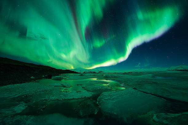 Aurora Display Over The Glacier Lagoon Jokulsarlon Wall Art