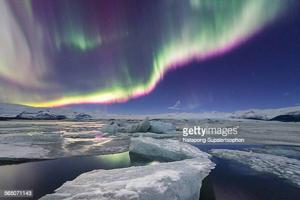Aurora displays over jokulsarlon glacier lagoon