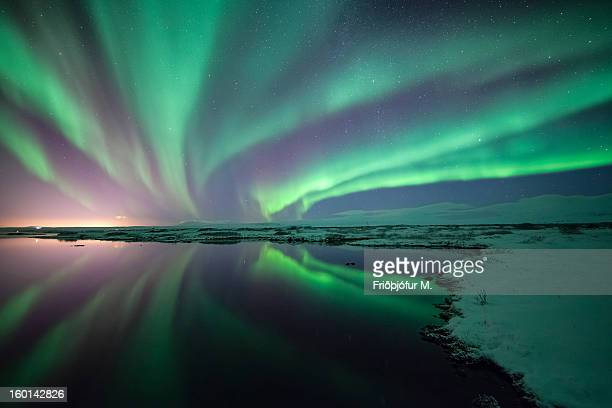 aurora everywhere - thingvellir national park stock photos and pictures