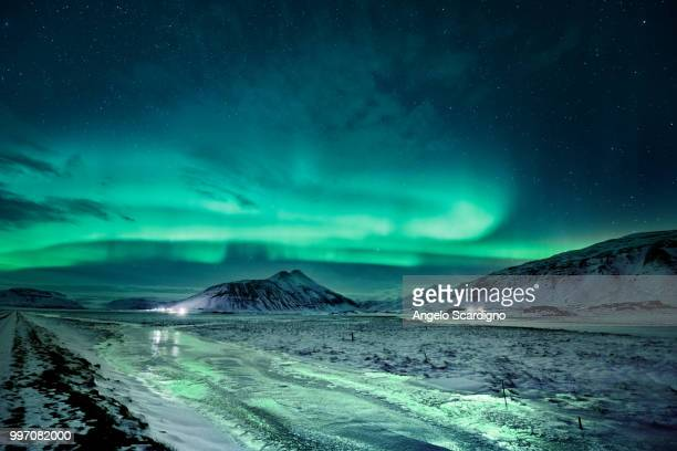 aurora from hofn glacial lagoon - aurora polaris stock pictures, royalty-free photos & images