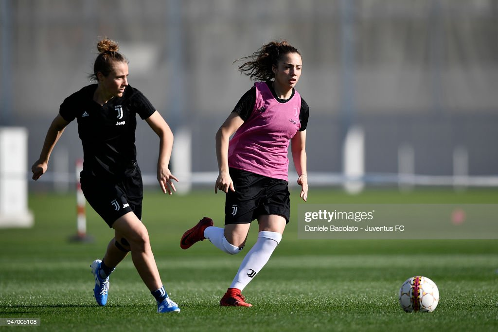 Aurora Galli and Benedetta Glionna during the Juventus Women first training session at Jtc in Continassa on April 16, 2018 in Turin, Italy.