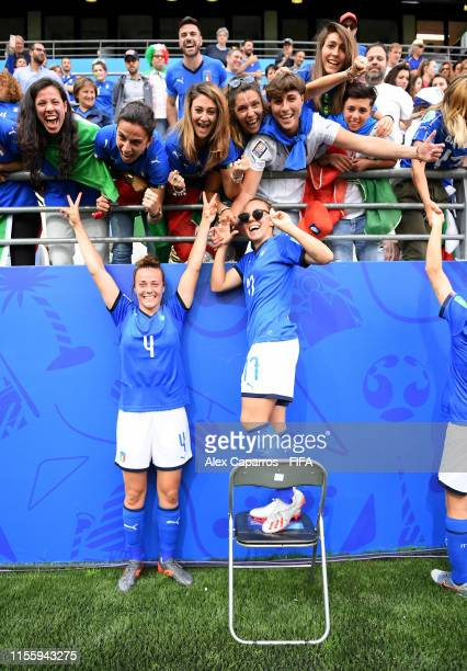 Aurora Galli and Lisa Boattin of Italy celebrate with their family and friends following their sides victory in the 2019 FIFA Women's World Cup...