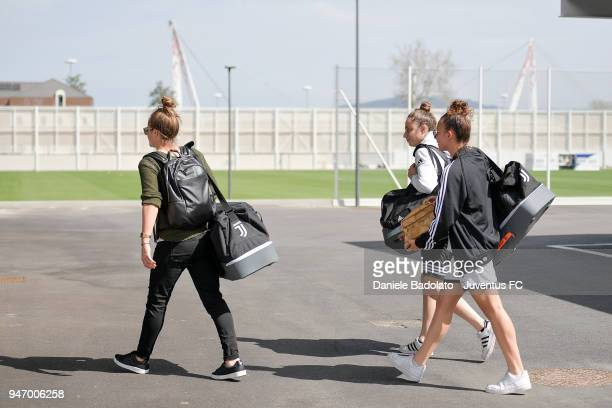 Aurora Galli Benedetta Glionna and Arianna Caruso at their arrival before the Juventus Women first training session at Jtc in Continassa on April 16...
