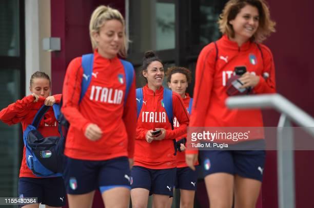 Aurora Galli, Martina Rosucci, Laura Fusetti, Ilaria Mauro and Daniela Sabatino of Italy Women leave the team hotel to go to a training session on...