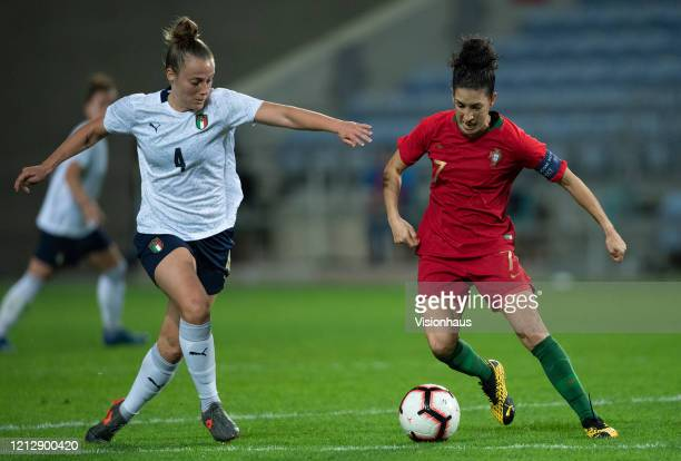 Aurora Galli of Italy and Cláudia Neto of Portugal during the Algarve Cup match between Portugal Women and Italy Women at the Estadio Algarve on...