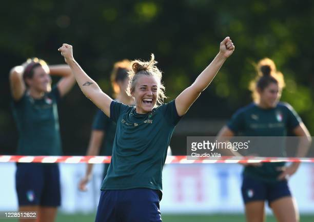 Aurora Galli of Italy reacts during a training session at Centro Tecnico Federale di Coverciano on September 14, 2020 in Florence, Italy.