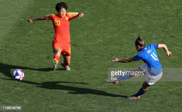 Aurora Galli of Italy scores her team's second goal during the 2019 FIFA Women's World Cup France Round Of 16 match between Italy and China at Stade...