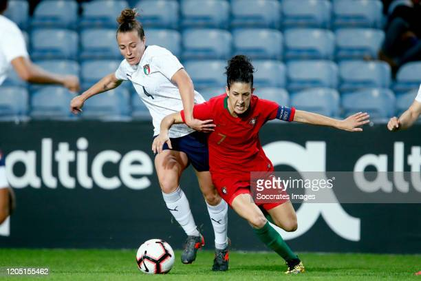 Aurora Galli of Italy Women Claudia Neto of Portugal Women during the Algarve Cup Women match between Portugal v Italy at the Estadio Algarve on...
