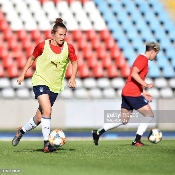 Aurora Galli of Italy Women in action during a training session at Stadium Lille Metropole on June 17, 2019 in in Villeneuve d'Ascq near Lille,...