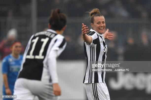 Aurora Galli of Juventus Women celebrates a goal during the match between Juventus Women and Empoli Ladies at Juventus Center Vinovo on February 17,...