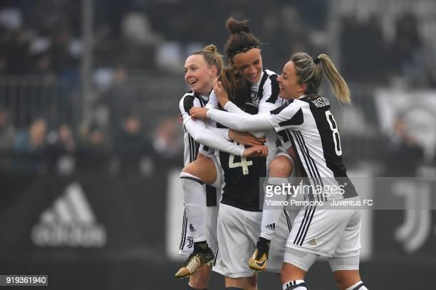 Aurora Galli of Juventus Women celebrates a goal with team mates during the match between Juventus Women and Empoli Ladies at Juventus Center Vinovo...
