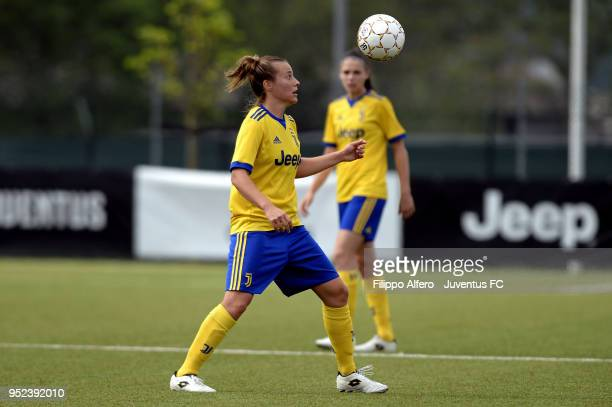 Aurora Galli of Juventus Women in action during the serie A match between Juventus Women and Ravenna Women on April 28 2018 in Vinovo Italy