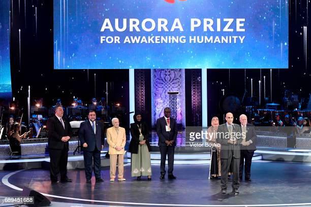 Aurora Humanitarian Initiative Co-Founder Noubar Afeyan, Aurora Humanitarian Initiative Co-Founder Ruben Vardanyan, singer Charles Aznavour, 2017...