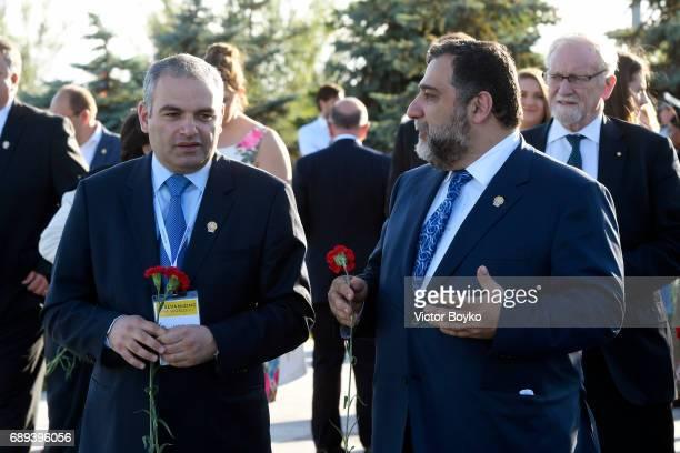 Aurora Humanitarian Initiative CoFounder Ruben Vardanyan and guest visit the Tsitsernakaberd Armenian Genocide Memorial Complex on May 28 2017 in...