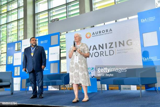 Aurora Humanitarian Initiative Co-Founder Ruben Vardanyan and Head of UWC Dilijan Denise Davidson during the Galvanizing the World Session at the...