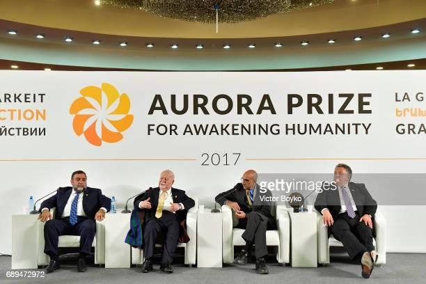 Aurora Humanitarian Initiative Co-Founder Ruben Vardanyan, Aurora Humanitarian Initiative Co-Founder Vartan Gregorian, 2017 Aurora Prize Laureate Dr....