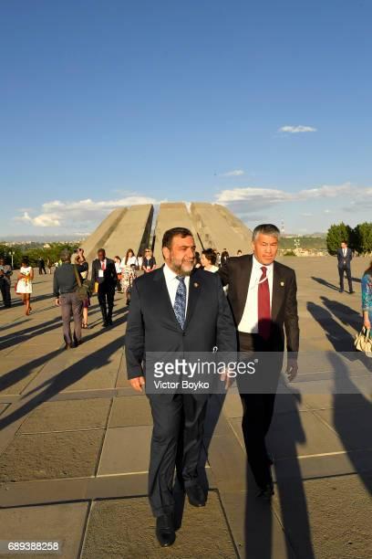 Aurora Humanitarian Initiative CoFounder Ruben Vardanyan visits the Tsitsernakaberd Armenian Genocide Memorial Complex on May 28 2017 in Yerevan...