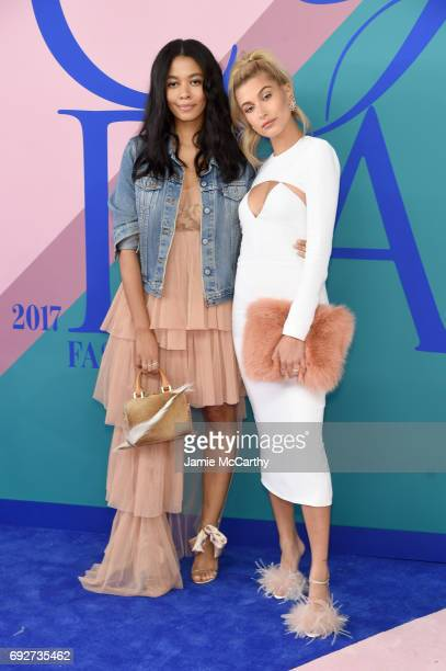 Aurora James and Hailey Baldwin attend the 2017 CFDA Fashion Awards at Hammerstein Ballroom on June 5 2017 in New York City