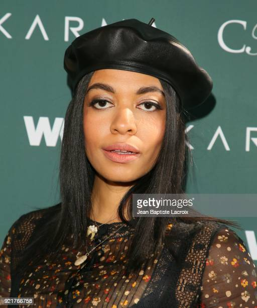 Aurora James arrives to the Council of Fashion Designers of America luncheon held at Chateau Marmont on February 20 2018 in Los Angeles California