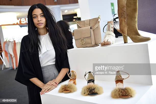 Aurora James, founder of Brother Vellies, poses at the Designer Showcase during the Vogue Fashion Dubai Experience 2015 at The Dubai Mall on October...