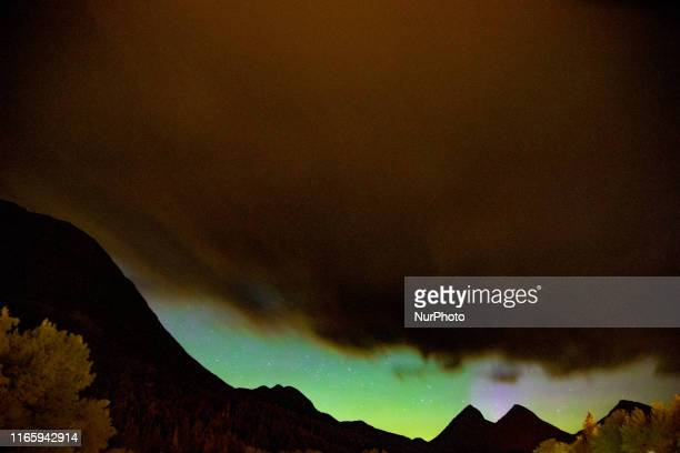 Aurora known as the Northern Lights Polar Lights Aurora Borealis or Australis Southern Lights etc as seen in Valldalen in Norway on September 1 2019...