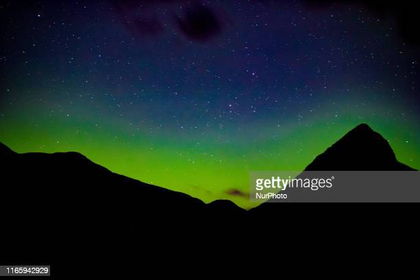 Aurora, known as the Northern Lights, Polar Lights, Aurora Borealis or Australis, Southern Lights etc as seen in Valldalen in Norway on September 1,...