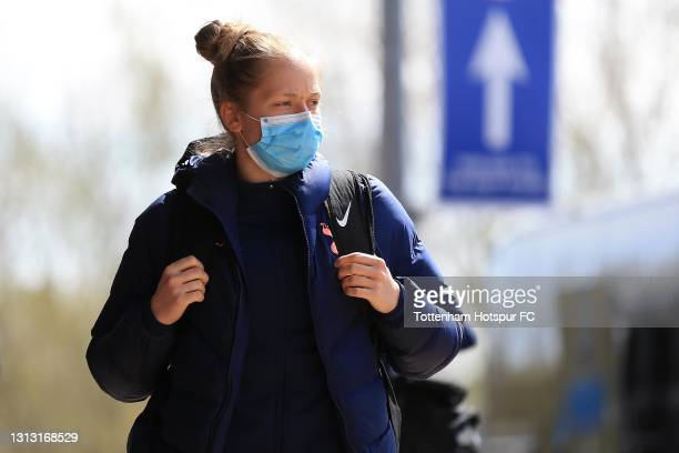 Aurora Mikalsen of Tottenham Hotspur arrives during the Vitality Women's FA Cup Fourth Round match between Reading Women and Tottenham Hotspur Women...