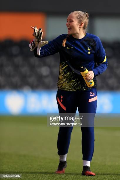 Aurora Mikalsen of Tottenham Hotspur warms up ahead of the Barclays FA Women's Super League match between Tottenham Hotspur Women and Everton Women...