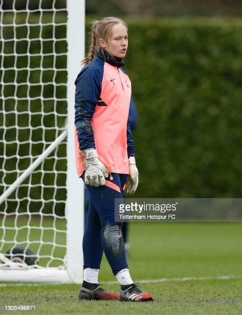 Aurora Mikalsen of Tottenham Hotspur Women during the Tottenham Hotspur Women training session at Tottenham Hotspur Training Centre on March 05, 2021...