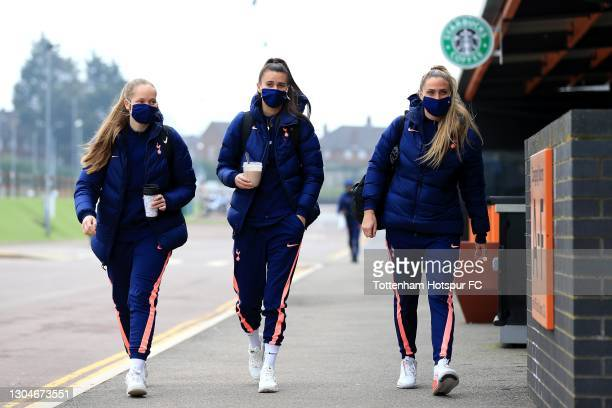 Aurora Mikalsen, Rosella Ayane and Shelina Zadorsky of Tottenham Hotspur arrive ahead of the Barclays FA Women's Super League match between Tottenham...