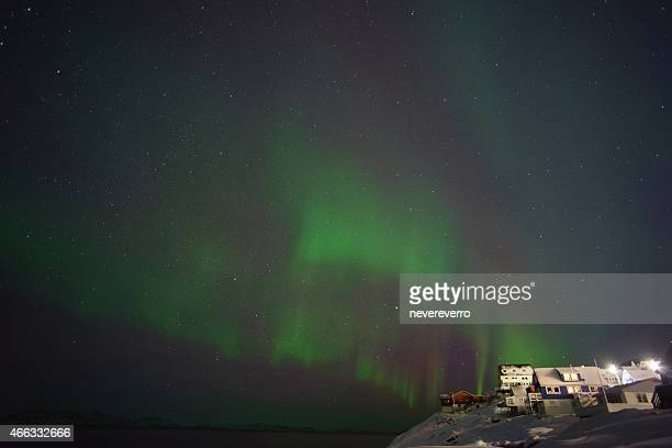 aurora nuuk, greenland - houses in antarctica stock pictures, royalty-free photos & images